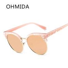 OHMIDA gafas de Sol Espejo Redondo Gafas de Sol para Mujeres de la Alta Calidad Diseñador de la Marca de La Vendimia Mujer Hombre Gafas Gafas De Sol Gafas