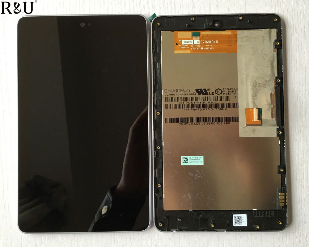 R&U test good lcd screen display touch screen digitizer assembly with frame for ASUS Google Nexus 7 nexus7 2012 ME370T me370