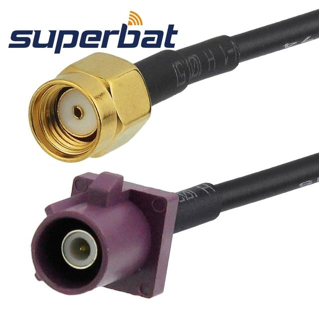 """Superbat Cáp Đồng Trục RF Cáp Fakra Nam Cắm """"D"""" thẳng để RP SMA Cắm (ổ cắm pin) bộ chuyển đổi thẳng cáp RG174 15 cm"""