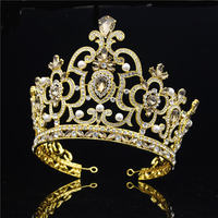 Baroque Big Tiaras Large Pageant Crowns Headdress Crystal Headband Diadem Prom Beauty Hair Jewelry Wedding accessories