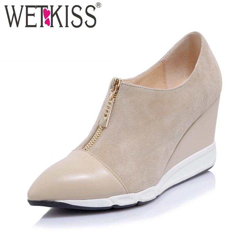 WETKISS 2018 New Patchwork Kid Suede Women Pumps Pointed Toe Wedges Zipper Footwear High Heels Spring Casual Ladies Shoes wetkiss 2018 brand women pumps spring fashion round toe metal decoration bling buckle footwear zipper high heels ladies shoes