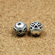 New Fashion 10pcs/lot 11mm Antique Silver Plated Hollow Zinc Alloy Beads New Charms Fit Jewelry Findings(China)