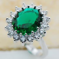 Simulated Emerald 925 Sterling Silver Top Quality Fancy Jewelry wedding Ring Size 5 6 7 8 9 10 11 F1171
