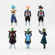 6pcs/lot Dragon Ball Z Figure Toy Son Goku Black Zamasu Mai Super Saiyan Rose Model Doll Anime Gift for Kids