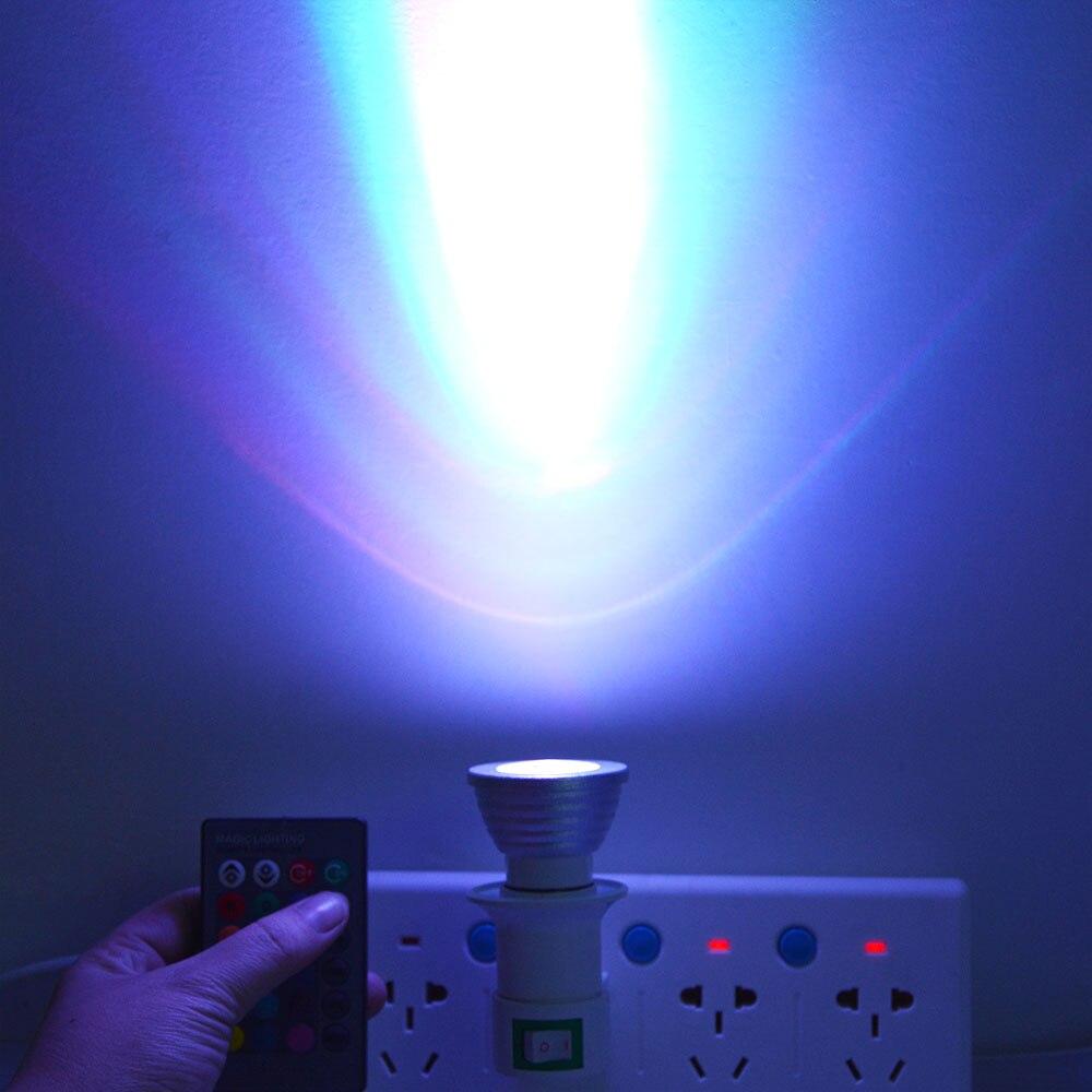 Mini E27 RGB LED Lamp 3W 110V 220V LED Spotlight Bulb + Remote ...
