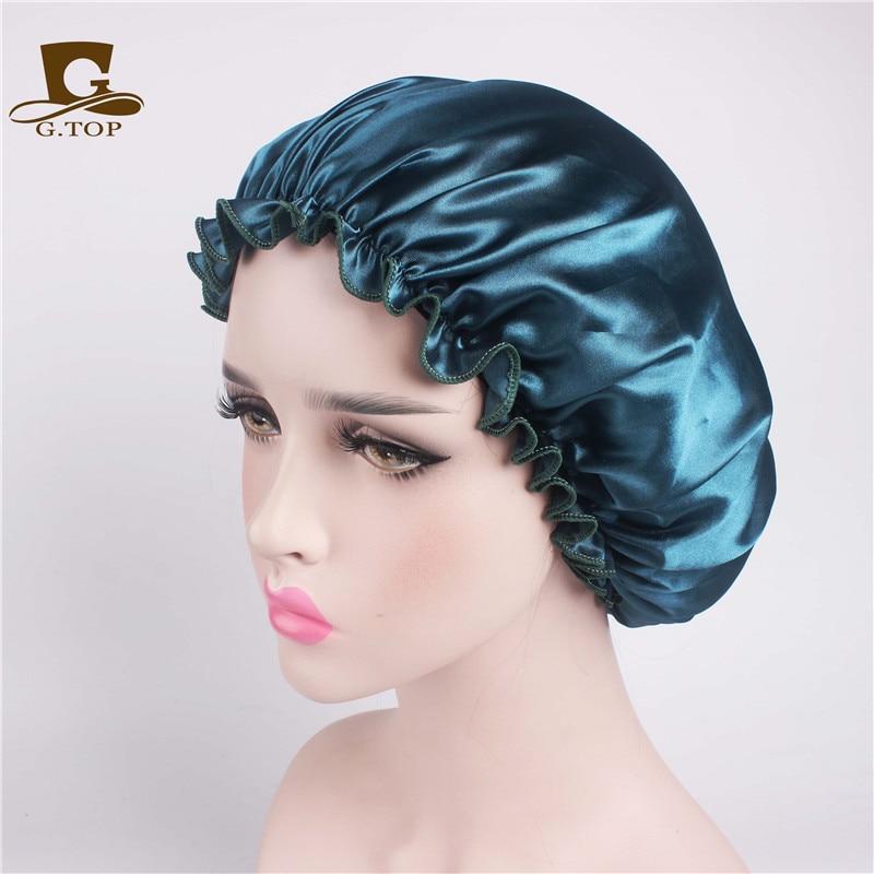цены на Beauty salon cap satin Sleep Night Cap Head Cover Bonnet Hat for For Curly Springy Hair в интернет-магазинах