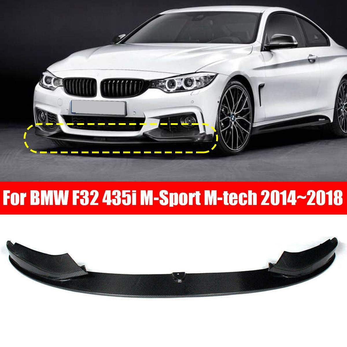 1 pièces voiture pare-chocs avant lèvre Spoiler Splitters Fiber de carbone noir lèvre menton Spoiler pour BMW F32 435i M Sport M tech 2014-2018