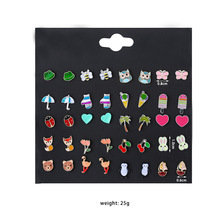 CHENFAN Korean Edition Animal Insect Fashion Combination Set Earpin Ladybug Fruit Earrings Female stud earrings