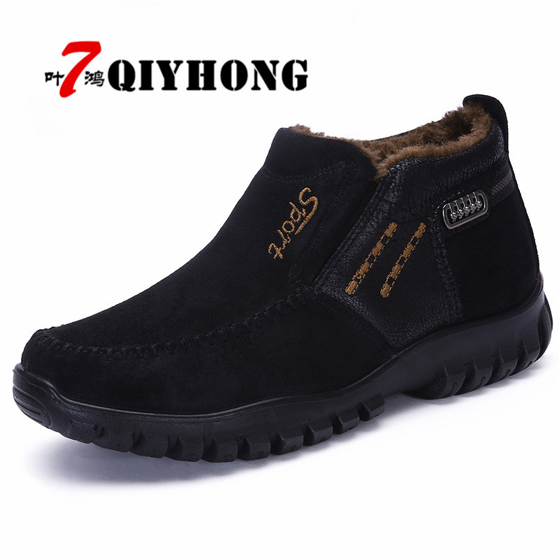 New Classic Men Waterproof Boots Shoes Winter Warm Fur Snow Boots Men Slip On Shoes Boot Non-slip High Quality Outdoor Shoes Man mulinsen brand new winter men sports hiking shoes cowhide inside keep warm sport shoes wear non slip outdoor sneaker 250666