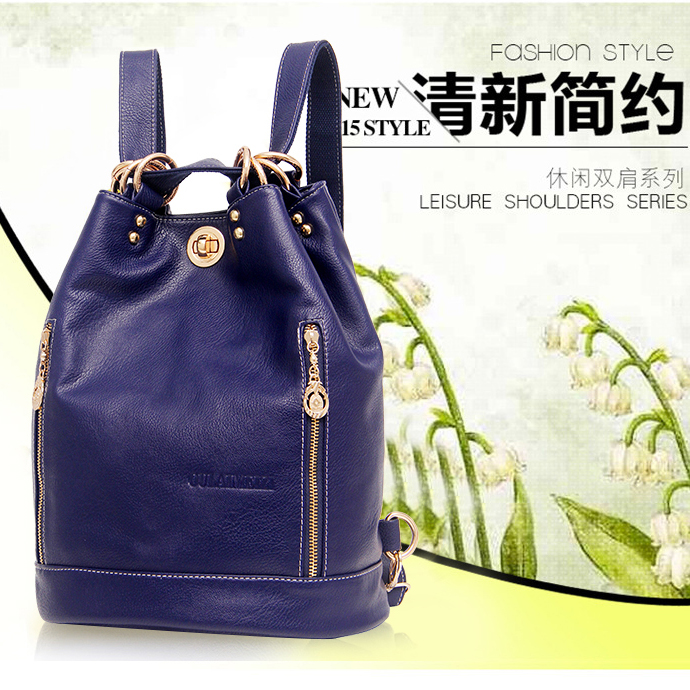 100% Genuine Leather Grils Backpack University Student Bag Second Layer of Cowhide Backpack Lady Bucket Bags Shoulder Bag D134