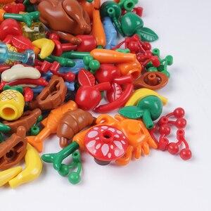 Image 4 - Stad Vrienden Accessoires Onderdelen Bouwsteen Fruit Brood Vis Voedsel Banaan Cherry Voor Legoe Stad Blokken Bricks Speelgoed Voor Kinderen