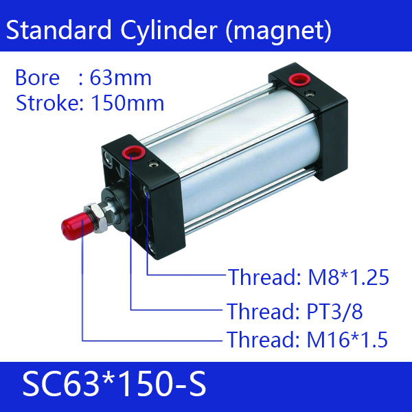 ФОТО SC63*150-S 63mm Bore 150mm Stroke SC63X150-S SC Series Single Rod Standard Pneumatic Air Cylinder SC63-150-S