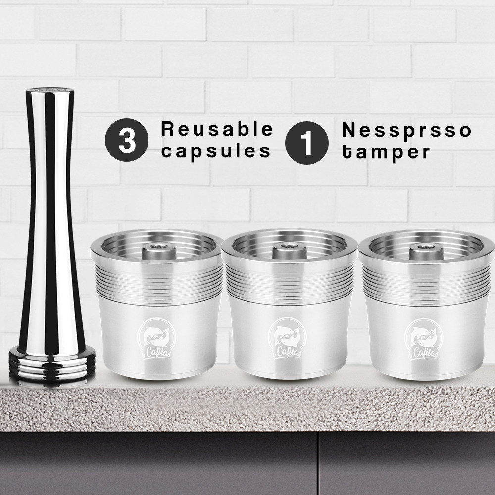 Stainless Steel Reusable  Coffee Filter Tamper Set Refillable Capsules Cup Pod Tamper For ILLY X9 X8 X7.1 Y5 Y3 Y1.1