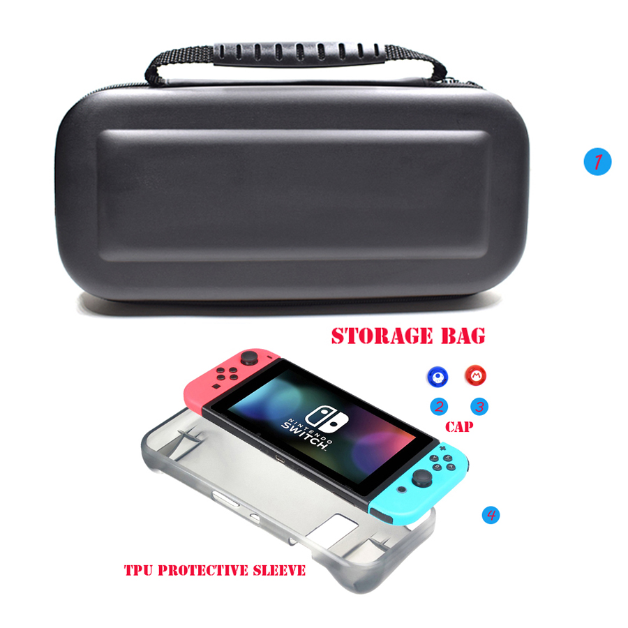 4 in 1 Nintend Switch NSAccessories Protective Carry Bag with 2 Tempered Glass Film & TPU Case for Nintendo Switch  1