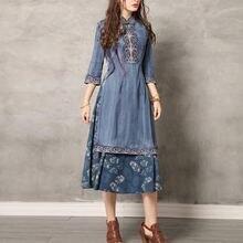 Женское джинсовое платье до середины икры винтажное составного