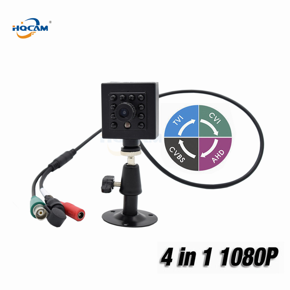 HQCAM Mini IR Vehicle Camera 1080P 4 IN 1 AHD/CVI/TVI/CVBS Camera Infrared Night Vision Indoor Security OSD DIP Switch IMX323 tlp627 1 dip 4 p627