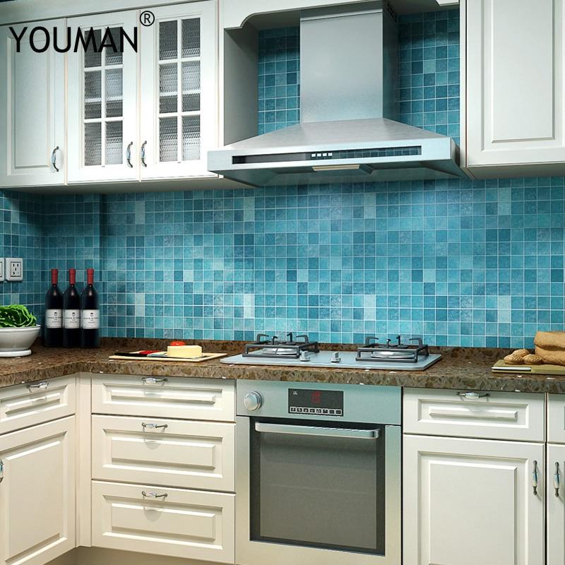 Купить с кэшбэком Wallpapers Youman Bathroom sticker PVC mosaic wallpaper kitchen waterproof tile stickers plastic vinyl self adhesive 45cmX5m