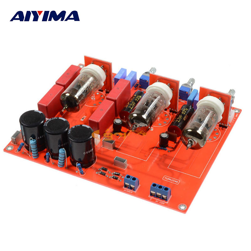 AIYIMA Tube Power Amplifiers Audio Board Amplificador 2.0 Preamp Fever 6N1 Bile Tone Preamplifier Board Balanced Output aiyima tube amplifier audio board amplificador 6j8 two channel preamplifier bile preamp 6j8 tube amp
