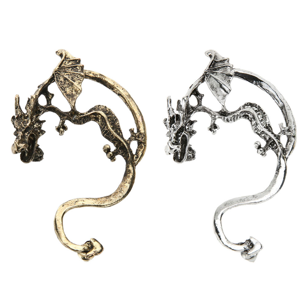 2017 Newest Unisex Vintage Personalized Aggressive Stereo Dragon Kiss Ear Clip Electroplate Earrings with 5.5cm/2.17 Length