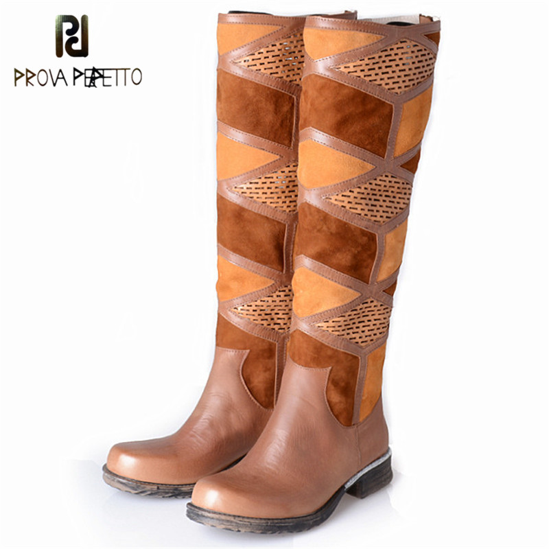 Prova Perfetto Roman Style Brown Woman Boots Fall Winter Chic Knee Boots Women Mixed Color Patchwork Round Toe Low Heels Boots слипоны grand style слипоны