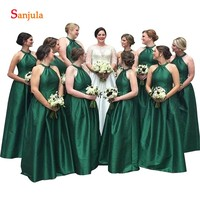 Изумрудно зеленое платье для подружек невесты трапециевидной формы с жемчужным вырезом без рукавов длинное свадебное вечернее платье прос