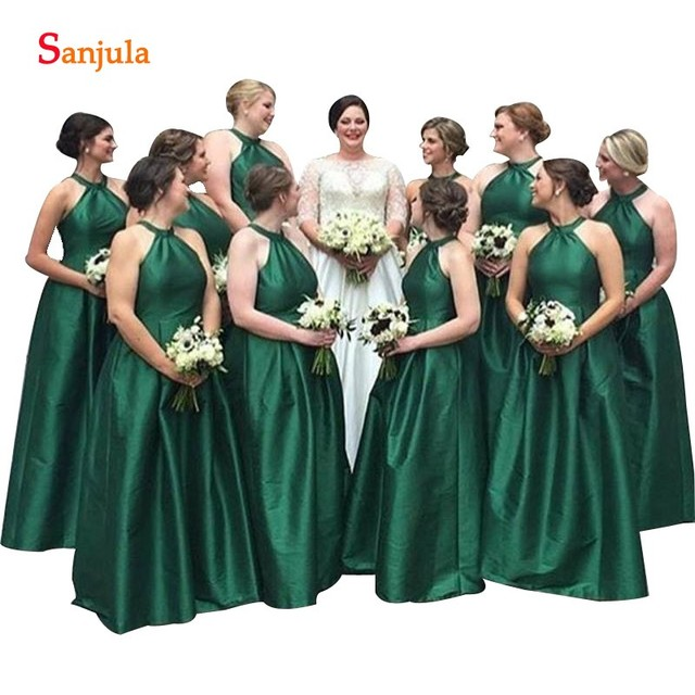 6a6012b3623 Emerald Green Dress For Bridesmaids A-line Jewel Neck Sleeveless Long  Wedding Party Gowns Simple Elegant Women Dress vestido