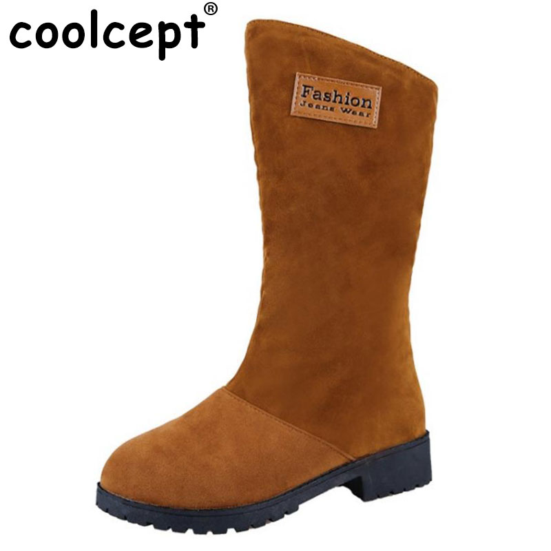 Coolcept Women Half Short Snow Boots Thick Fur Shoes For Cold Winter Mid Calf Botas Warm Short Boots Women Footwear Size 35-40