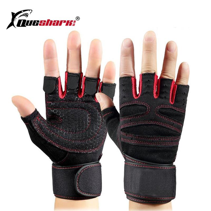 Queshark כושר כפפות ספורט תרגיל משקל הרמת כפפות מבנה גוף אימון יד תמיכת גלישת ספורט כושר כפפות