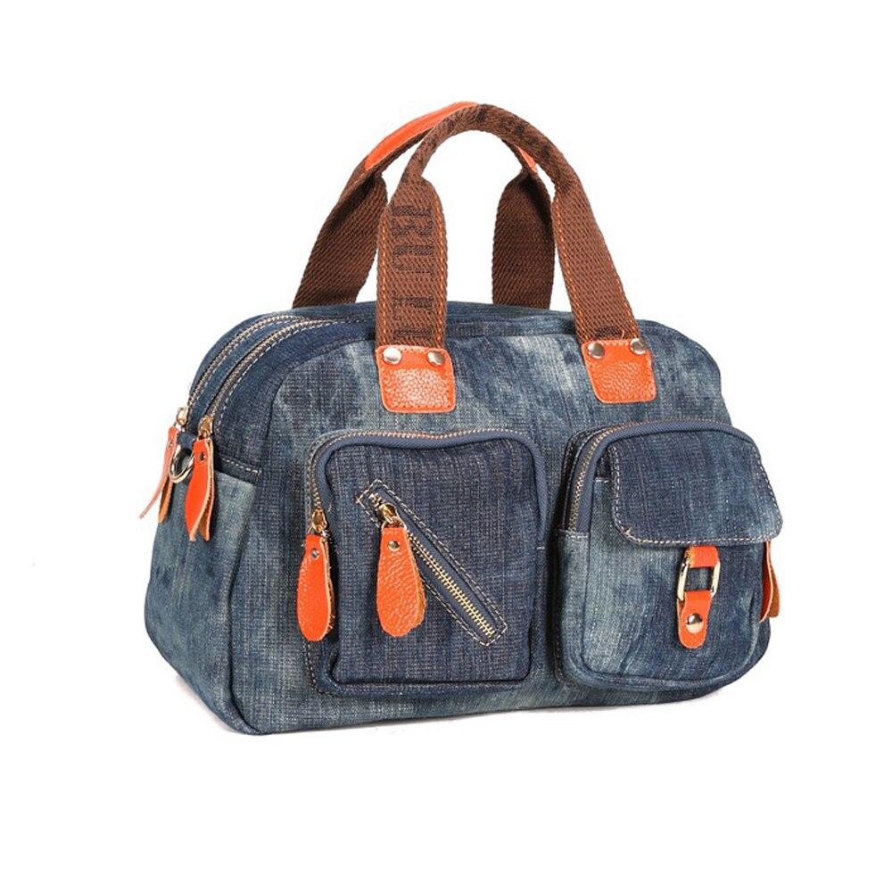 Джинсовая сумочка Для женщин лоскутное полотно Винтаж сумка европейских и американских Стиль моды джокер для отдыха простая сумка