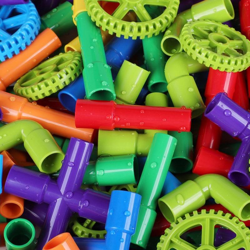 Pipeline Tunnel Car Wheels DIY Blocks Creative Bricks Kid's Educational Pipe Block Training Toys Compatible With LegoED Duploed
