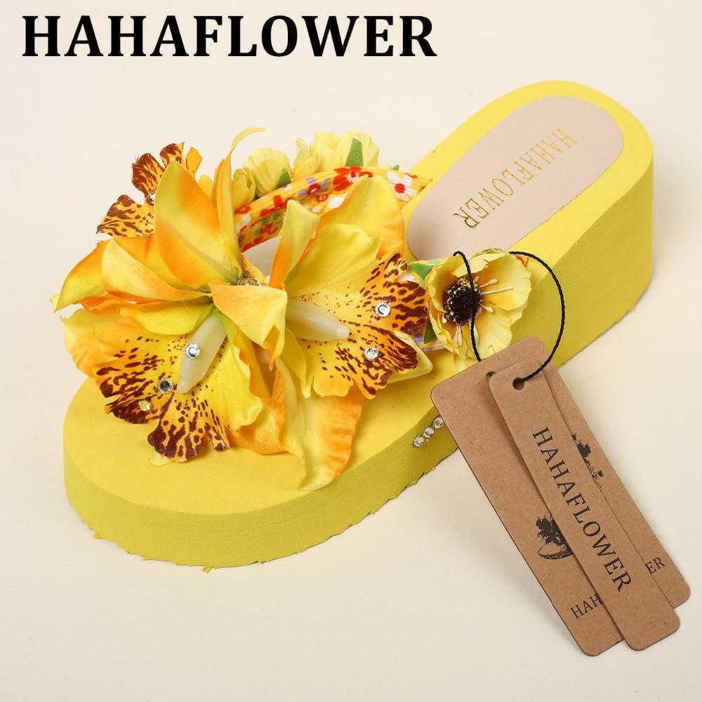 HAHAFLOWER New Fashion Summer Women High Heels Slippers Flip Flops Beach Wedge Platform Shoes Wedge Flip Flops