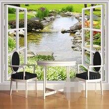 3D Custom  Mural Wallpaper Modern Window Garden Small River Flower Grass