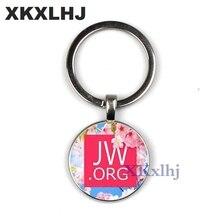 XKXLHJ JW .Org Charm Keychain Romantic Flower Jehovahs Witnesses Pendant Glass Photo Cabochon Keyring Men Women Key Chain
