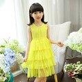 Meninas Princesa Rendas Colete de Verão Para Crianças Desgaste Do Bebê Fleabane Fleabane Amarga Amargo Vestido de Gaze de Malha de Algodão Branco Rosa Amarelo