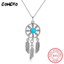 Collier Sautoir Long Pendant Necklaces Trendy Party Colares Concho Jewelry 925 Sterling Turquoise Feather Necklace For Women