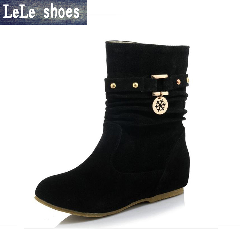 LELE New Brand Women Winter Boots Mid Calf big size 34-43 Suede Leather Short Boots Flats with Fur Warm Bottes Femmes Shoes mid calf women boots black white brown big size 34 43 new winter mid calf women boots black white brown for choice flats shoes