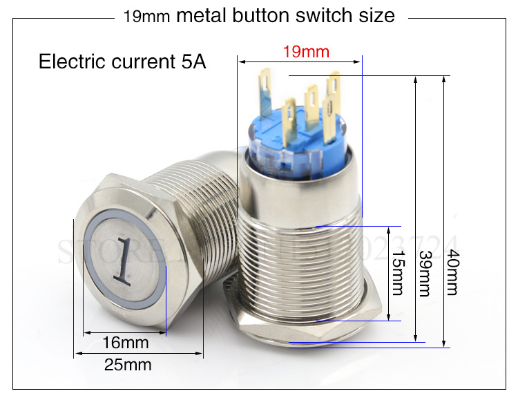 Girls' Clothing Engagement & Wedding Metal Button Switch 16mm19mm22mm Reset Button Switch Instantaneous Digital 1.2.3.a.b.c Elevator Button Switch