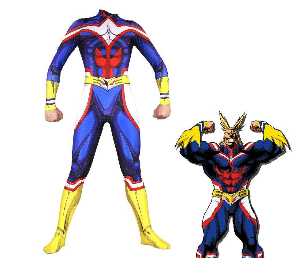 Mon héros académique tout pourrait Cosplay dans les hommes Costumes Zentai Lycra Spandex bleu corps complet exquis Body combinaison Costumes