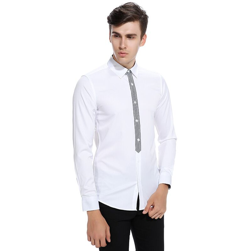 Mens Plaid Placket Long Sleeve Shirts Fashion Slim Fit Male Dress Shirt Party Stage Shirt For Man Casual Brand Men Clothes