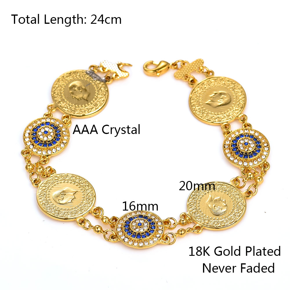 Crystal Blue Evil Eyes Money Coin Bracelet Islamic Muslim Arab Coins Bracelet for Women Men Middle Eastern Allah Jewelry Gifts