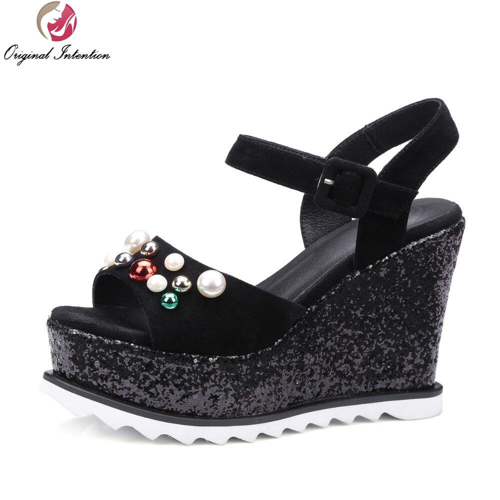 ФОТО Super Gorgeous 2017 Women Sandals Popular Open Toe Wedges Sandals High-quality Black Shoes Woman US Size 4-8.5