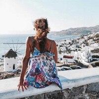 Boho Chic Summer Vintage Floral Bird Print Ruffles Strap Dress Women 2018 Fashion Clothing Backless Beach Dresses Femme Vestidos