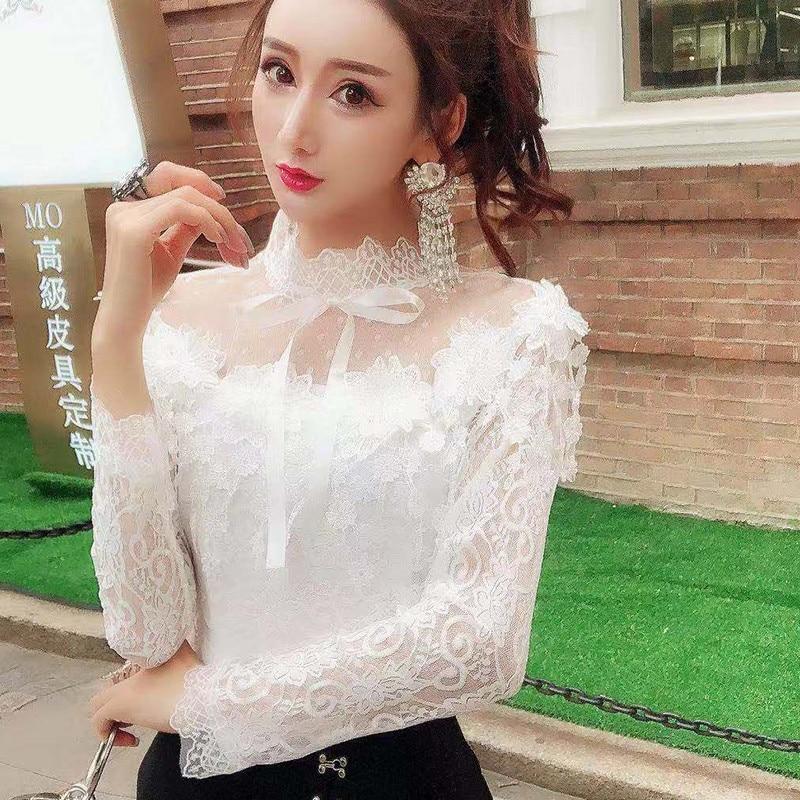 Женская рубашка с длинным рукавом, милый галстук бабочка, кружевная блузка с цветочным принтом, сетчатые блузки с вырезами и кисточками, Короткие топы, AB1313|Блузки|   | АлиЭкспресс