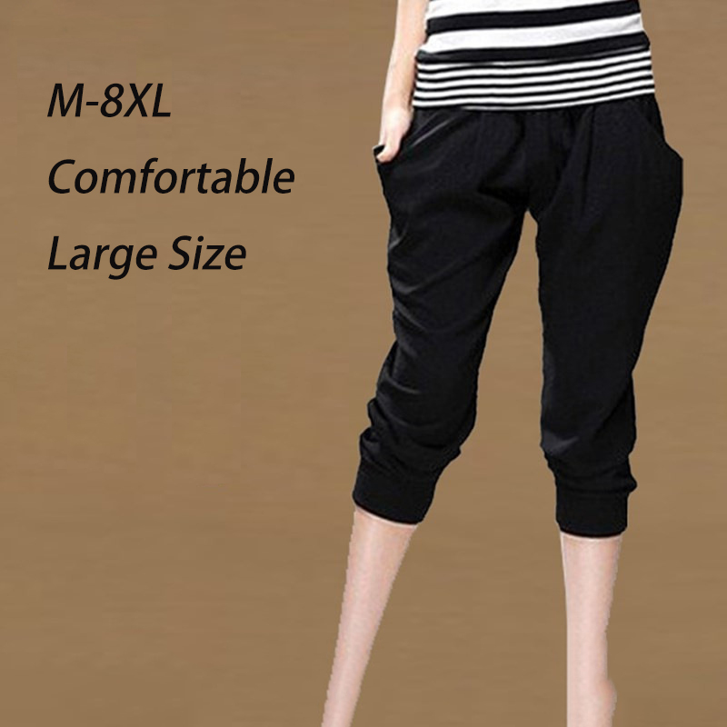 Summer Womens Harem Pants High Waist Loose Straight Calf-length Pants Comfortable Casual Pants Large Size 8XL OL Pants 2008 5