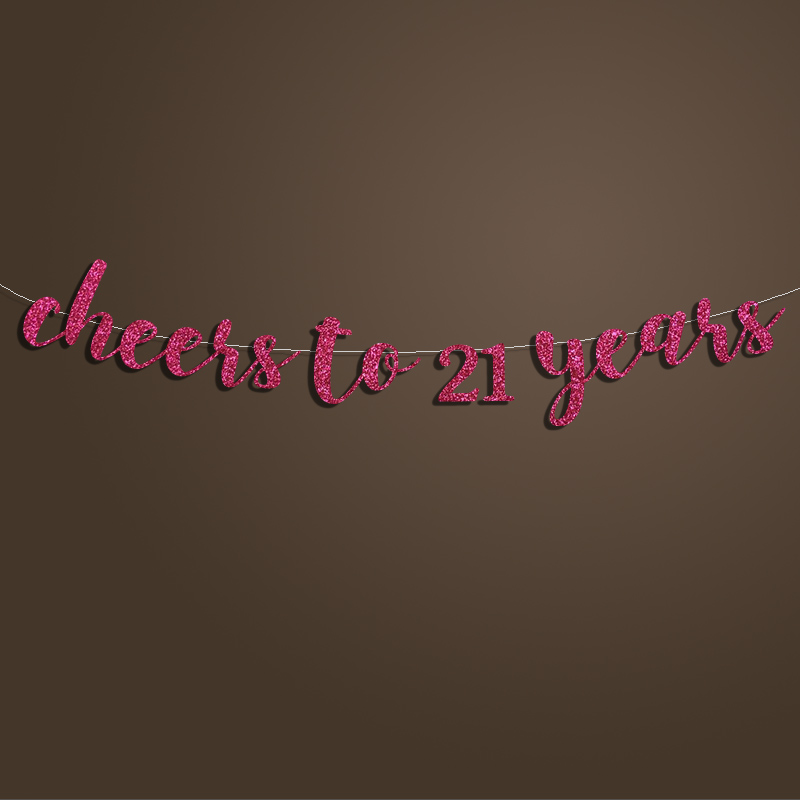Cheers To 21 Years BannerHappy Birthday Sign Backdrop21st DecorationGold Silver Glitter Party Decorations Supplies In Banners