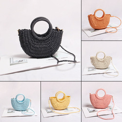 Mini Handmade Hollow Out Beach Bag Weaving Bamboo Bag Wood Top-handle Handbags Ladies Round Straw Bag Moon Shaped Wrapped Bags