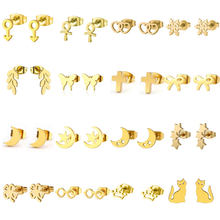 1Pair Gold Color Stainless Steel Earring Cross Cat Moon Stars Animals Earrings Male Famale Kids Ear Stud Xmas Gift Jewelry(China)