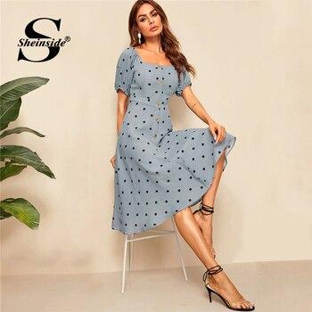 Sheinside Casual Polka Dot Print Midi Vestido Mujeres 2019