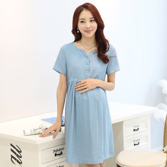 8b6d6d29b453a Solid Pregnant Women Casual Loose Summer Dress Nursing Maternity Dresses  Design Buttons Short Sleeved Pregnancy Clothes HMA018