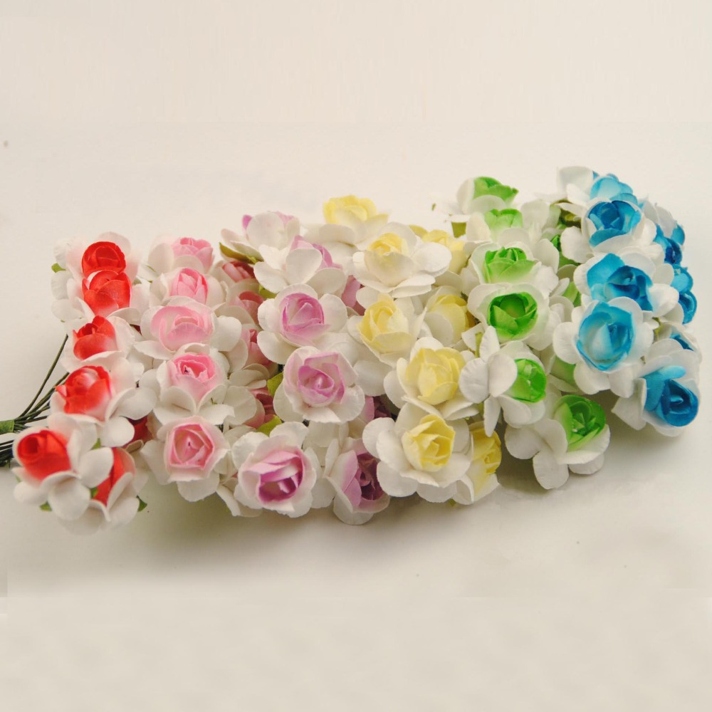 15cm Diy Craft Mulberry Paper Flowerartificial Two Tone Mini Rose